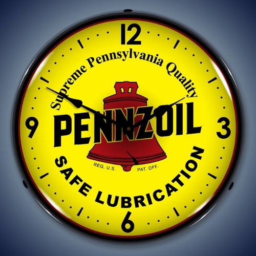 Retro  Pennzoil Lighted Wall Clock 14 x 14 Inches