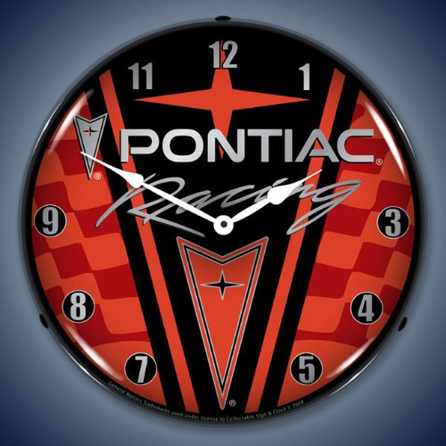 Retro  Pontiac Racing Lighted Wall Clock 14 x 14 Inches