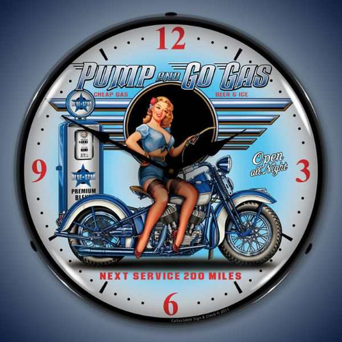 Retro  Pump N Go Lighted Wall Clock 14 x 14 Inches