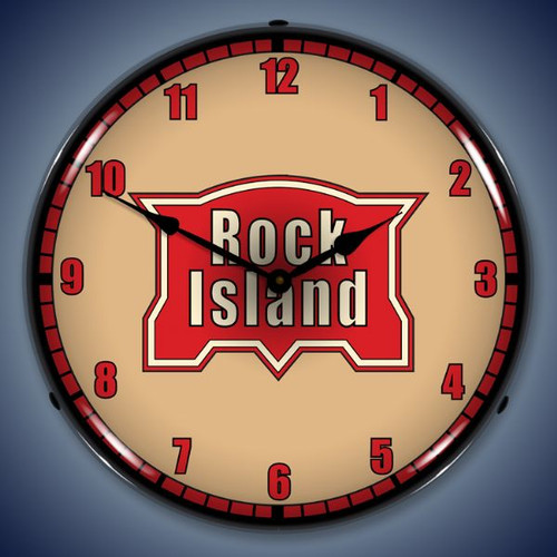 Retro  Rock Island Railroad Lighted Wall Clock 14 x 14 Inches