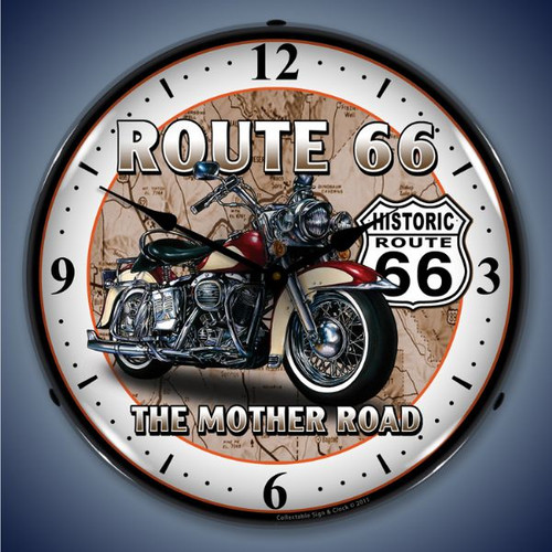 Retro  Route 66 Bike Lighted Wall Clock 14 x 14 Inches