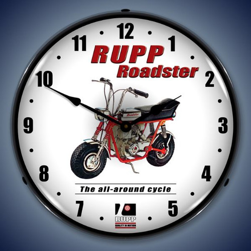 Retro  Rupp Minibike Lighted Wall Clock 14 x 14 Inches