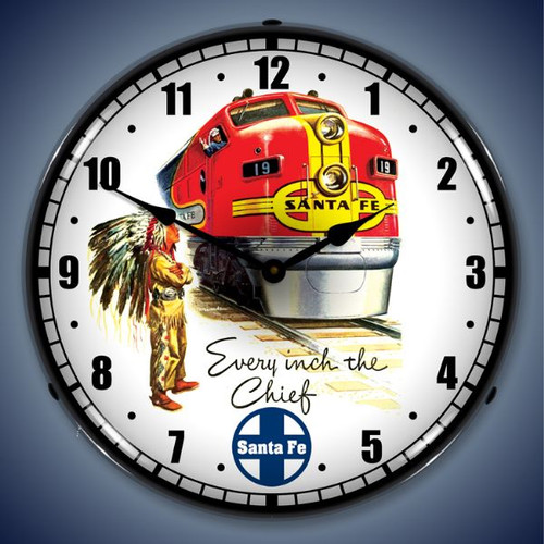 Retro  Santa Fe Chief Lighted Wall Clock 14 x 14 Inches