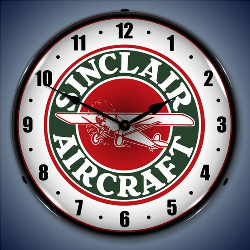 Retro  Sinclair Aircraft Lighted Wall Clock 14 x 14 Inches