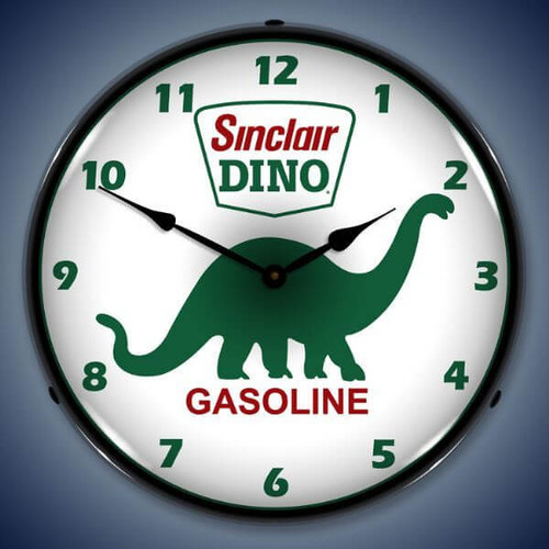 Retro  Sinclair Dino Lighted Wall Clock 14 x 14 Inches