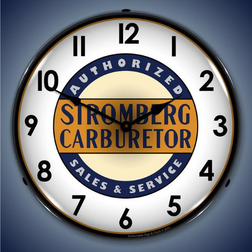 Retro  Stromberg Service Lighted Wall Clock 14 x 14 Inches