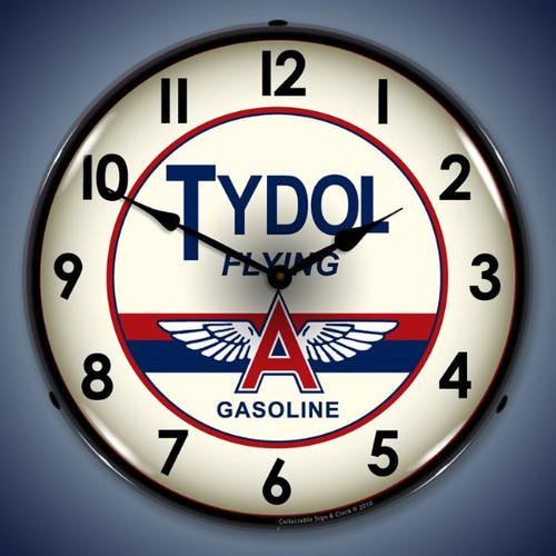 Retro  Tydol Lighted Wall Clock 14 x 14 Inches