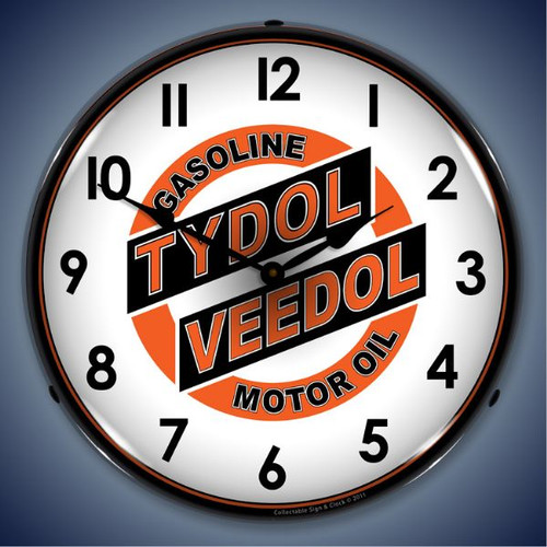 Retro  Tydol Veedol Lighted Wall Clock 14 x 14 Inches