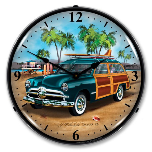 Woodys Surfer Wagon Lighted Wall Clock