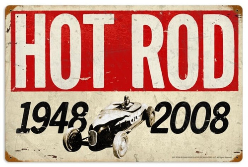 Retro Hot Rod Magazine 60th Anniversary Metal Sign 16 x 24 Inches