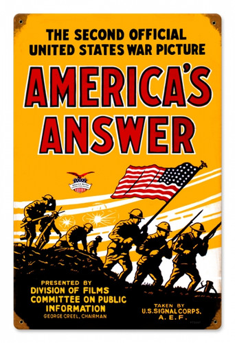 Vintage  Americans Answer Metal Sign 12 x 18 Inches