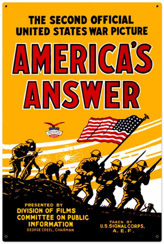 Retro Americans Answer Metal Sign 24 x 36 Inches