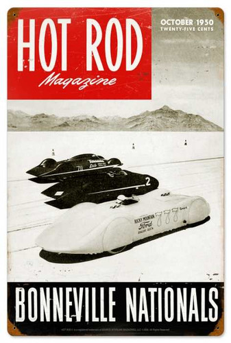 Retro Hot Rod Magazine Bonneville Nationals Metal Sign16 x 24 Inches