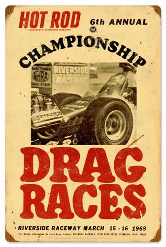 Retro Hot Rod Magazine championship Drag Races Metal Sign16 x 24 Inches