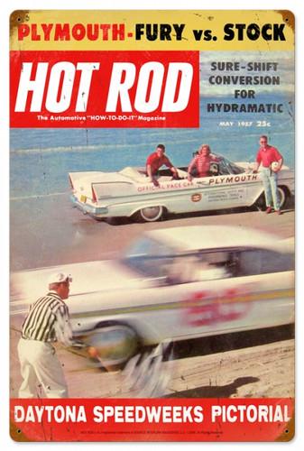 Retro Hot Rod Magazine Daytona Metal Sign 16 x 24 inches