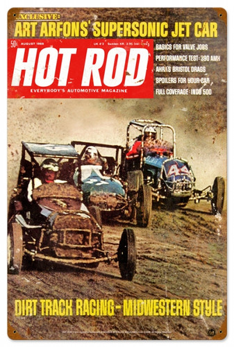 Retro Hot Rod Magazine Dirt Track Metal Sign16 x 24 Inches