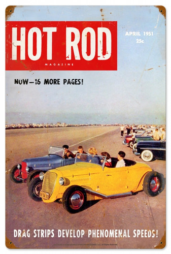 Retro Hot Rod Magazine Drag Strips Metal Sign16 x 24 Inches