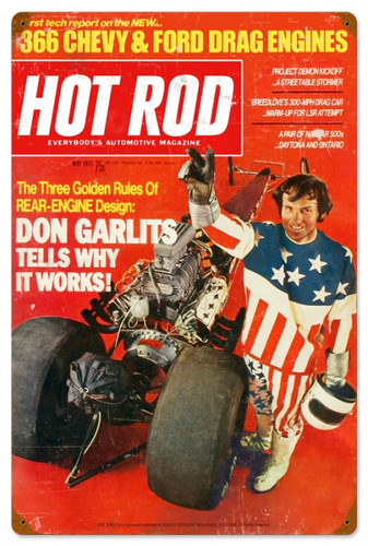 Retro Hot Rod Magazine Garlits May 1971 Metal Sign16 x 24 Inches