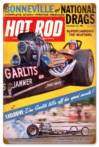 Retro Hot Rod Magazine Garlits November 1964 Metal Sign16 x 24 Inches