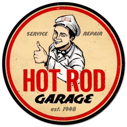 Retro Hot Rod Magazine Garage Round Metal Sign 28 x 28 Inches