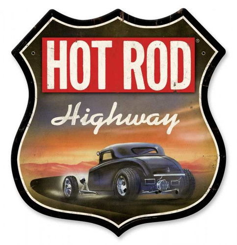 Retro Hot Rod Magazine Highway Metal Sign 28 x 28 Inches