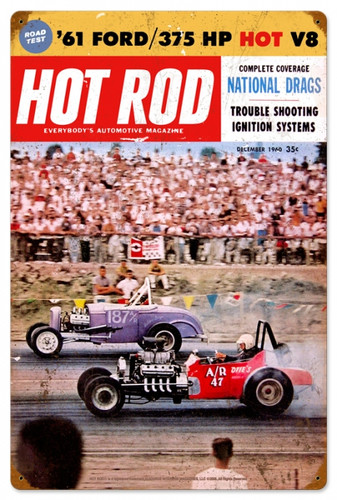 Retro Hot Rod Magazine National Drags Metal Sign16 x 24 Inches