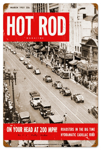 Retro Hot Rod Magazine NYC Roadsters Metal Sign16 x 24 Inches