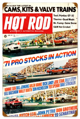Retro Hot Rod Magazine Pro Stocks Metal Sign16 x 24 Inches