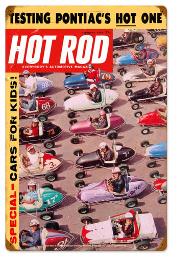 Retro Hot Rod Magazine Quarter Midgets Metal Sign16 x 24 Inches