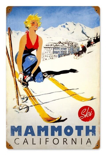 Vintage Ski Mammoth Metal Sign   12 x 18 Inches