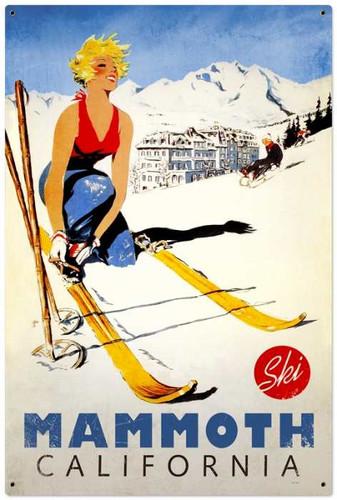 Retro Ski Mammoth Metal Sign 24 x 36 Inches