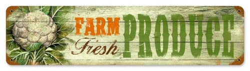 Vintage Fresh Produce Metal Sign 20 x 5 inches