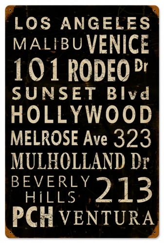 Retro LA Towns Metal Sign 16 x 24 Inches