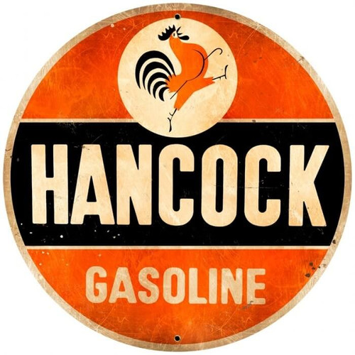 Retro Hancock Old School Round Metal Sign 28 x 28 inches