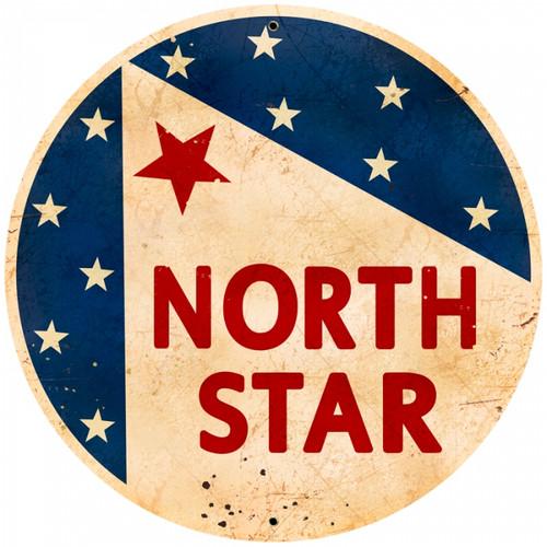 Retro North Star Gasoline Round Metal Sign 28 x 28 inches