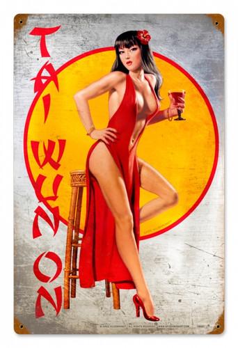 Vintage Tai Wun On  - Pin-Up Girl Metal Sign 12 x 18 Inches