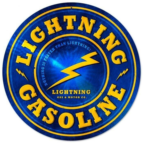 Retro Lightning Gasoline Metal Sign 12 x 12 Inches