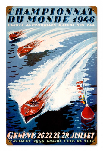 Vintage World Champion Boating Metal Sign 12 x 18 Inches