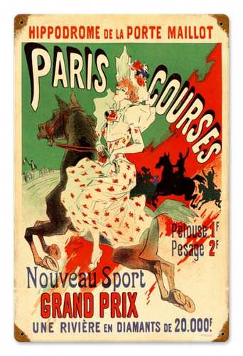 Vintage Paris Hippodrome Metal Sign 12 x 18 Inches