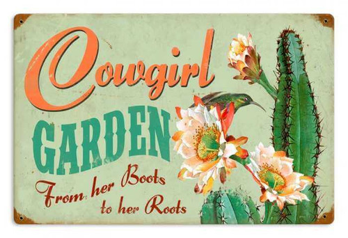 Retro Cowgirl Garden Metal Sign 18 x 12 inches