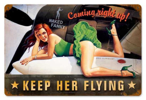 Retro Keep Her Flying  - Pin-Up Girl Metal Sign 18 x 12 Inches