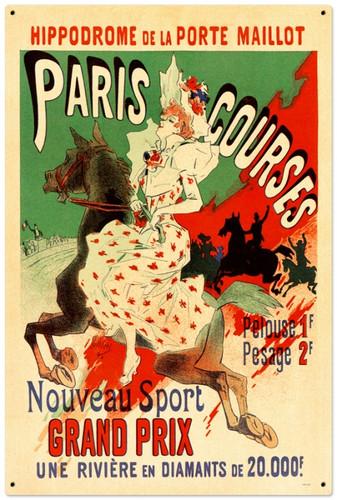 Retro Paris Hippodrome Tin-Metal Sign 24 x 36 Inches