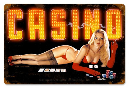 Retro Red Light Casino  - Pin-Up Girl Metal Sign  18 x 12 Inches