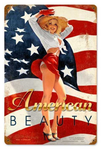 Vintage American Beauty  - Pin-Up Girl Metal Sign 12 x 18 Inches