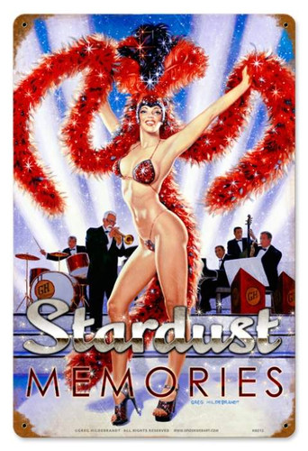 Vintage Stardust Memories  - Pin-Up Girl Metal Sign 12 x 18 Inches