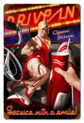 Vintage Drive In  - Pin-Up Girl Metal Sign 12 x 18 Inches