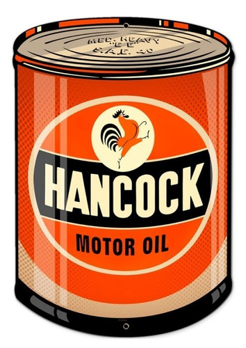 Retro Hancock Oil Metal Sign 14 x 20 Inches