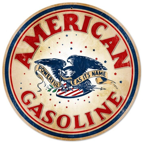 Retro American Gasoline Metal Sign 14 x 14 Inches