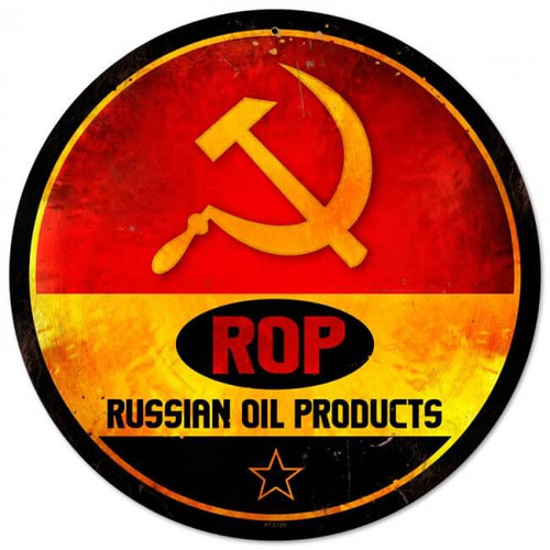 Retro ROP Gasoline Metal Sign 14 x 14 Inches