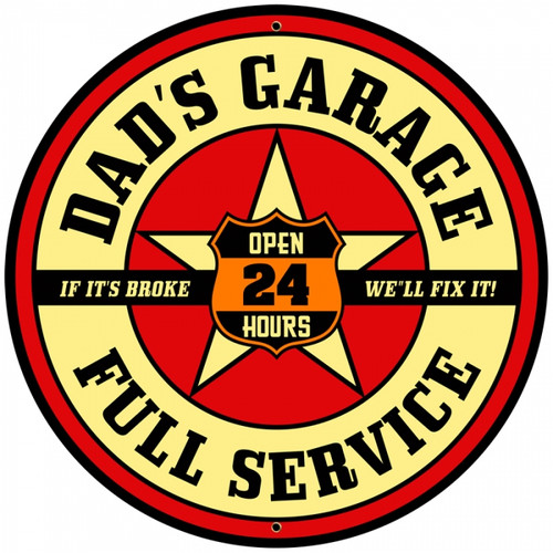 Retro Dad's Garage Round Metal Sign 28 x 28 Inches